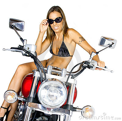 Biker babe on a motorcycle. Photo taken on