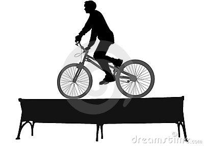 Biker on bench vector