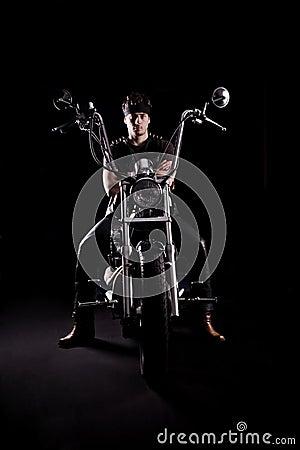 Biker on chopper motorcycle