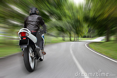 Biker on a country road