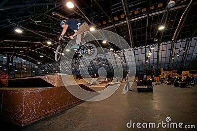 Biker doing truckdriver trick