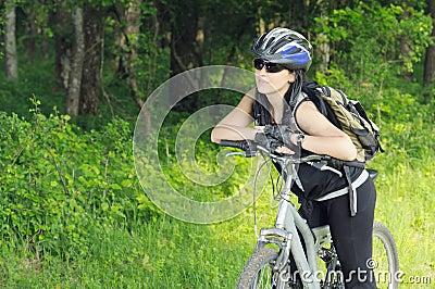 Biker in forest