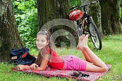 Biker girl  in the park