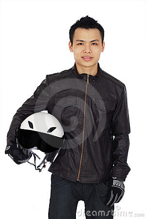 Biker with helmet