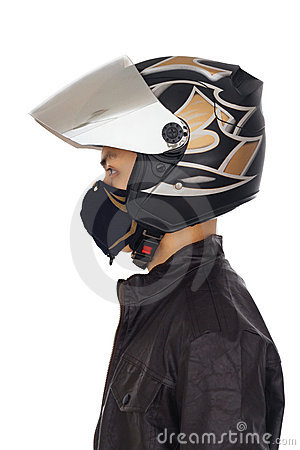 Biker with helmet and mask