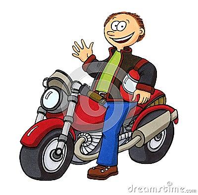 Biker on his motorbike
