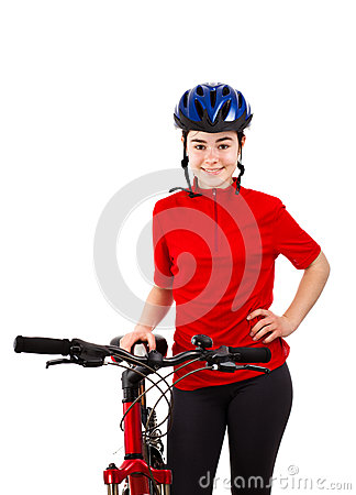 Biker isolated on white background