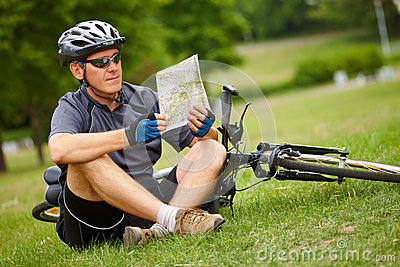 Biker with map