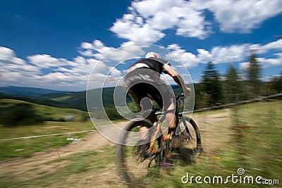 Biker in motion blur