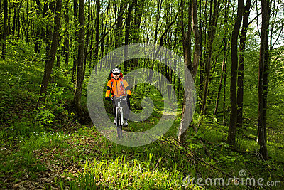 Biker in orange jersey on the forest road Stock Photo