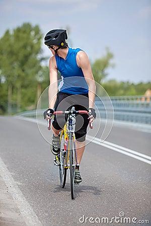 Biker race bike looking behind