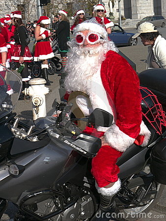 Biker Santa at Santa Con San Francisco 2011 Editorial Stock Image