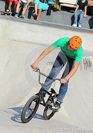 Biker on the skatepark Editorial Photo