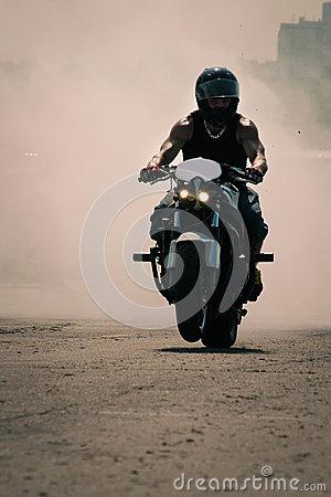Biker speeding on a road