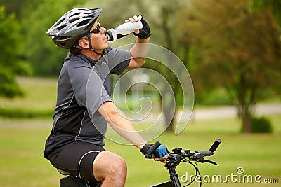 Biker with water bottle