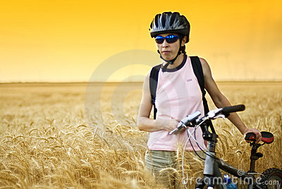 Biker in wheat field