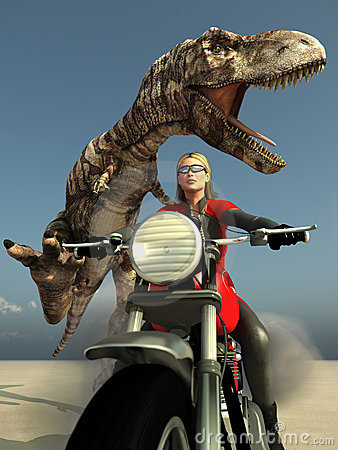 Biker woman escape from t-rex