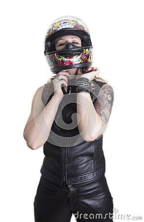 Free Biker Woman Putting On Helmet Stock Photos - 22547533