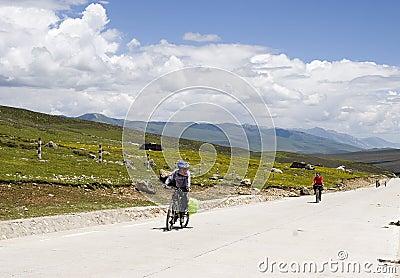 Bikers  in mountain aera