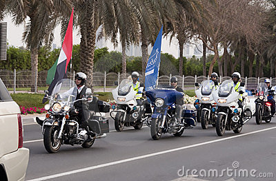 Bikers at Peace March Editorial Stock Photo