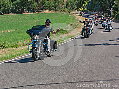 Bikers riding Harley Davidson Editorial Stock Photo