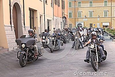 Bikers riding Harley Davidson Editorial Image