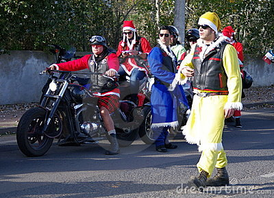 Bikers xmas parade Editorial Stock Image