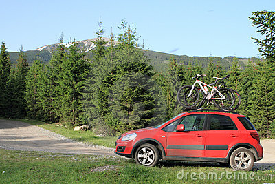 Bikes on a car  in the mountain