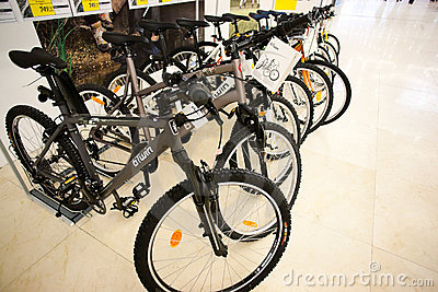 Bikes in Decathlon store Editorial Photo