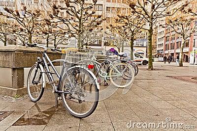 Bikes on a rack Editorial Stock Photo