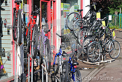 Bikes on racks for sale. Editorial Stock Photo