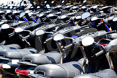 Bikes scooter pattern in renting store