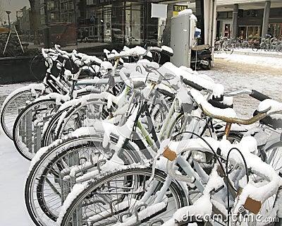 Bikes in snow