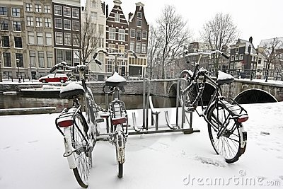 Bikes in the snow in Amsterdam Netherlands