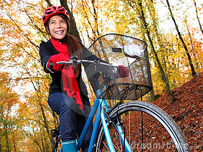 Biking in autumn forest