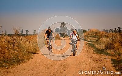 Biking in Romania, towards Danube shore, off-road Editorial Stock Photo