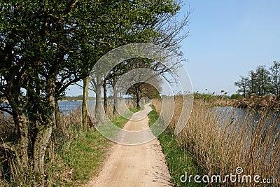 Biking trail in between water