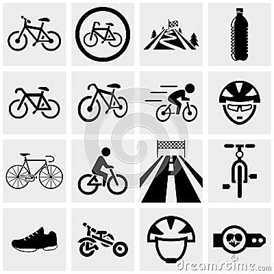 Free Biking Vector Icons Set On Gray. Stock Photo - 33973060