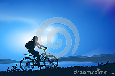 Biking. Vector illustration