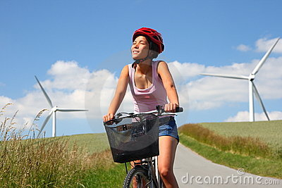 Biking among wind turbines