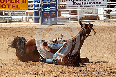Bikini Barrel Racing Crash Editorial Stock Photo