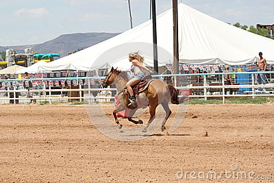 Bikini Barrel Racing Home Stretch Editorial Stock Image