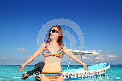 Bikini beach tourist sunglasses tropical sea