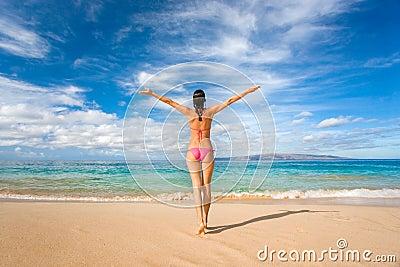 Bikini freedom on tropical beach