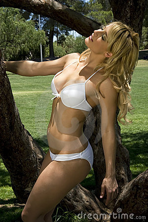 Bikini frolic in the park