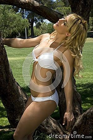Bikini frolic in the park