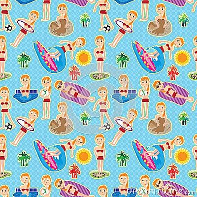 Bikini Girl Seamless Pattern_eps