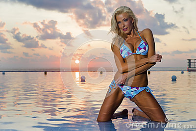 Bikini Model At Sunrise