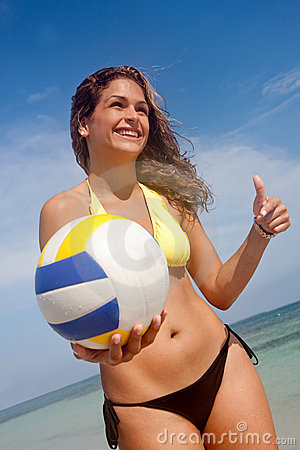 Bikini woman with a volleyball