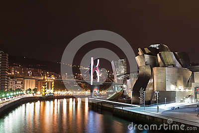 Bilbao at night Editorial Photo